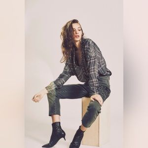Free People Fearless Love Sequin Plaid Tunic Top